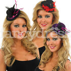 Womens Adult Mini Top Hat Feather Fancy Dress Glitter Burlesque Hen Party LOT