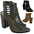 WOMENS LADIES PEEPTOE HIGH BLOCK HEEL CUTOUT MULTI STRAP SANDALS SHOES SIZE