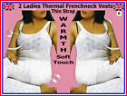 2 pieces LADIES THERMAL FRENCHNECK THIN STRAP VESTS WHITE WARM