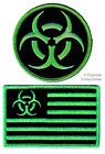 LOT 2 ZOMBIE HUNTER PATCHES embroidered iron-on GREEN BIOHAZARD AMERICAN FLAG