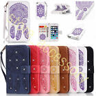 Diamond Dream Catcher Print Leather Credit Card Wallet Case Cover For Cell Phone
