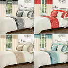 Luxury Contemporary Silver Floral Duvet Set Metallic Diamante Bedding All Sizes
