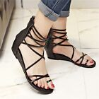 Women Lady Toe Ring Back Zipper Peep Toe Hollow Out Strappy Roman Flats Sandal