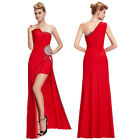 One Shoulder Split Side Sexy Gown Evening Prom Party Dress Bridesmaids Wedding