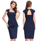 Retro Vintage Evening Hollowed Back Pleated Bodycon Pencil Dress Midi Party Sexy