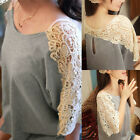 Womens Lace Floral Hollow Short Sleeve Splice Blouse Baggy Tops Pullover Shirt