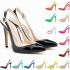 Ladies High Heels Ankle Strap Crystal Sides Sandals Pumps Court Shoes Size 4-11