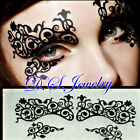 Very Cute Carved Hollow Lacy Black Artistic Eye Masks with Colourful Rhinestones