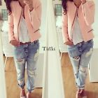 Vintage Women Short Slim Jacket Coat Outerwear Pink Tops Blouse Sweatshirt TXWD