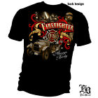 New Black T-Shirt with Vintage Fire Truck Always Ready Firefighter Design