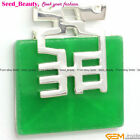 Seed_beauty 36mm Square Stone Beads Pendant For Necklace Gift Box / Bag