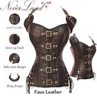 Black/Coffee Buckle Up Steampunk Leather Corset Basque Top Sexy Basques Lingerie