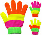 Children's Kids Magic Gloves Rainbow Stripe Boys Girls Winter Warm One Size New