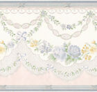 Satin Swag Victorian Light Blue Floral Lace Vine Yellow Wallpaper Wall Border