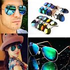 Men Women Unisex Retro Aviator Sunglasses Reflective Lens Gold Silver
