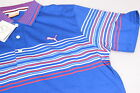 Puma Moisture Wicking Wrap Stripe Golf Polo Shirt Surf the Web Royal Blue S, Med