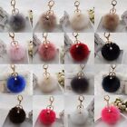 Fashion Handbag Charm Key Ring Rabbit Fur Ball PomPom Cell Phone Car Keychain
