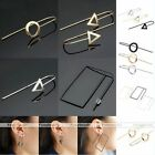 New Cool 3D Silver Gold Hollow Triangle Round Ear Stud Hook Earrings Jewelry