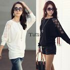 1PC Women Batwing Top Dolman Long Sleeve Casual Lace T-Shirt Blouse Black White