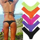 Fashion Women's Bikini Bottom Thong V Cheeky Ruched Semi Swimwear Beach Bathing