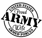 Proud Army Wife US Armed Forces Soldier Veteran Military Vinyl decal sticker