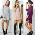 Sexy Womens Summer Long Sleeve Loose Casual Tops T-Shirt Blouse Short Mini Dress