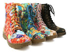 Women Ladies Laced Up Military Style Combat Print Ankle Boots Shoes Brand NEW