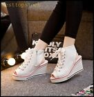 Fashion Womens Girls Punk Lace Up Canvas Slingback Peep Toes Wedge Sports Shoes