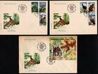 ROMANIA 1985 NATURAL PARK RESERVE RETEZAT PROTECTED FAUNA 6 STAMPS +S/S ON 3 FDC