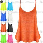 Womens Strappy Stretchy Ladies Burn Out Cami Strap Flared Franki Swing Vest Top