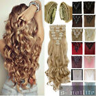 DIY Salon Finest Hair Extensions Full Head 18 Clips ins Curly Wavy Straight sn28