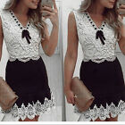 New Women Black And White Lace Ladies Sleeveless Vintage Casual Mini Dress LAU