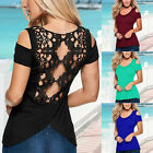 Sexy Womens Off Shoulder Lace Crochet Back Blouse Short Sleeve T-shirt Tops
