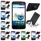 For Motorola Moto Z / Z Droid Heavy Kickstand PC Rubber Rugged Armor Case Cover