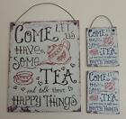 """ Tea & Happy Things"" Vintage Retro Style Metal Sign Wall Plaque, or Magnet"