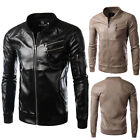 Men's PU Leather Jacket Motorcycle Biker Punk Slim Jacket Blazer Coat Outerwear