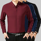 New Fashion Mens Luxury Business Dress Shirt Soft Silky Cotton Long Sleeve Shirt