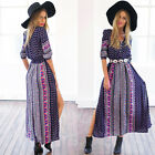 New Women Summer Bohemia Sexy Printed Deep V Long Maxi Dress Beach Evening Party