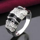 Hot Korean Style Crystal Black Enamel 925 Sterling Silver Band Ring Jewelry A847