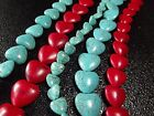 "12 / 18 / 20MM Blue /Red Turquoise Heart Loose beads Gemstone Jewelry 16""L T207A"