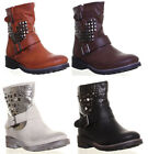 Womens Short Studded Glitter Biker Boots Grip sole Off White