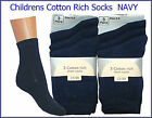 6 pairs KIDS BOYS GIRLS COTTON RICH SHORT SCHOOL SOCKS PLAIN NAVY size UK 6-8