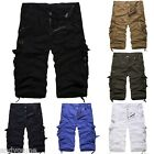 Men's Cotton Cargo Shorts Casual Capri Pants Baggy Combat Trousers Military Army