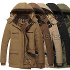 Fashion New Mens Hoodie Trench Coat Winter Thick Cotton Padded Jacket Coat Parka