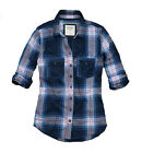 Abercrombie Fitch Womens Navy Blue Button Down Long Sleeve Casual Plaid Shirt S