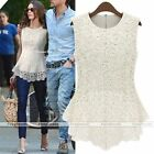 Lace Crochet Peplum For Crew Neck Casual Party Tee Sleeveless Shirt Blouse Tops