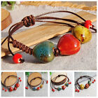 Unisex Fashion New Ethnic Style Ceramic Adjustable Beads Rope Bracelet Jewelry