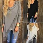 Womens Long Sleeve Loose Knitted Sweater Cardigan Knitwear Outwear tassels Coat