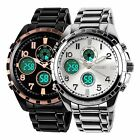 Luxury Men's Stainless Steel Band Date Digital Chronograph 50mm Analog Watch
