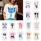 T-Shirt Printing Tops Blouse Loose Fashion Cotton Women's Batwing Sleeve Summer